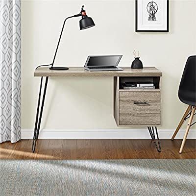 Ameriwood Home Landon Desk, Weathered Oak - Give your home office a functional desk without taking up too much space with the Ameriwood Home Landon Desk Desk has a compact footprint to fit into most apartments, dorm rooms, or home offices making it easy to work anywhere. Crafted of laminated particleboard and metal legs, this desk will not only look great but it is sturdy too Top surface is a great size for your laptop, writing accessories, and a lamp. The additional open cubby fits books and notepads while the drawer holds letter-sized files - writing-desks, living-room-furniture, living-room - 510gyRh9RAL. SS400  -