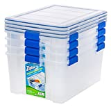 IRIS USA, Inc. Ziploc WeatherShield 60 Quart Storage Box, 4 Pack, Clear