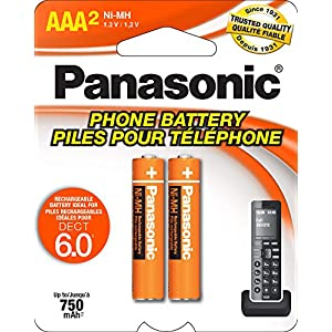 Panasonic HHR4DPA Genuine AAA NiMH Rechargeable Batteries for DECT Cordless Phones, 2 Pack