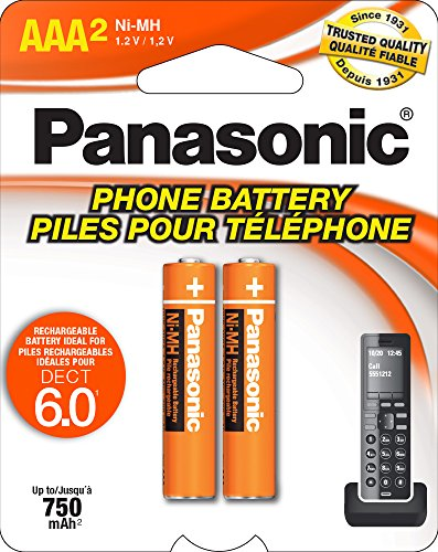 750mah Aaa Nimh Rechargeable Battery - Panasonic HHR4DPA Genuine AAA NiMH Rechargeable Batteries for DECT Cordless Phones, 2 Pack