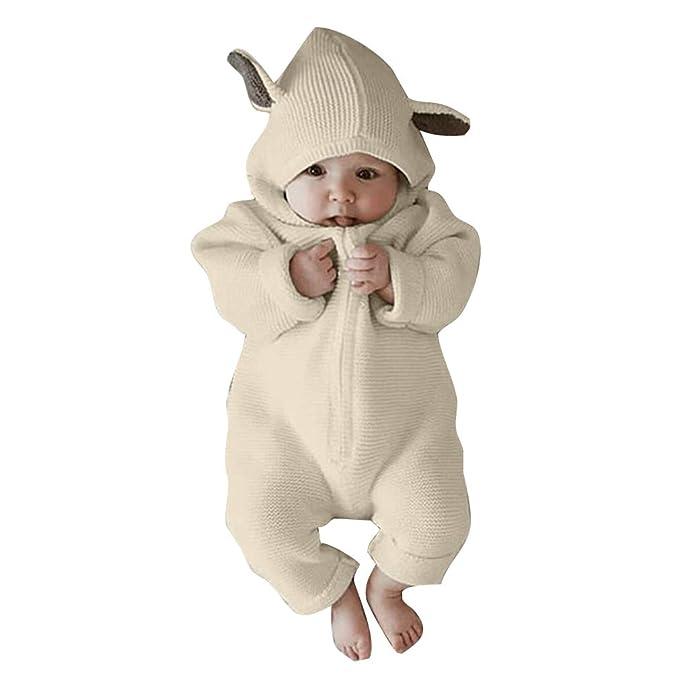 Hibote Bebé Recién Nacido BBebé Niño Niña Manga Larga Capucha Conejo Oreja  Mameluco Mono Ropa Bebé Ropa  Amazon.es  Ropa y accesorios 97de58a1313d