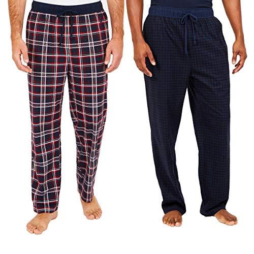 Nautica Men's Sueded Fleece Pajama Pants 2 Pack (L, Red) (Pants Sueded Fleece)