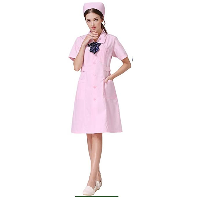 ESENHUANG White Lab Coat Uniforme Médico Servicios De Enfermería Ropa De Poliéster Protect Hospital Vestido Médico: Amazon.es: Ropa y accesorios
