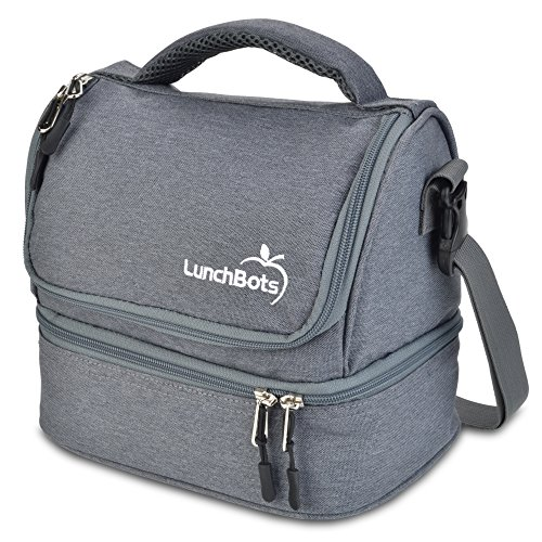 LunchBots Duplex Insulated Lunch Bag - Dual Section Design Fits LunchBots Uno, Duo, Trio, Quad, Rounds, Bento Cinco Perfectly - Roomy Thermal Lunch Bag for Kids and Adults - Gray