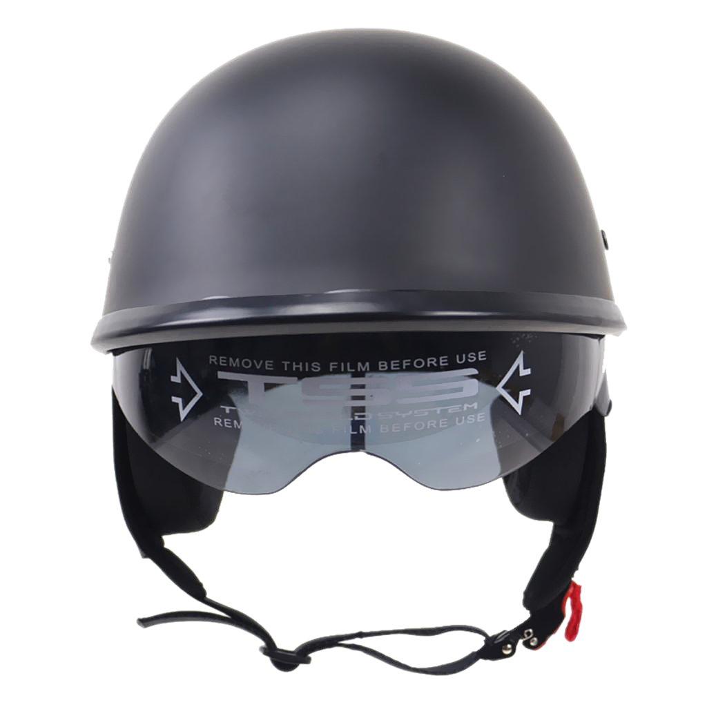 Almencla Unisex Motorradhelm Jethelm Helm Rollerhelm Matte Schwarz Halbschalenhelm Helmschale mit Halteband M