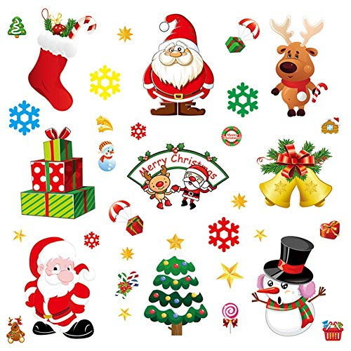 Adeeing Christmas Decal Set, Removable Window Stickers Santa Claus Snowman Elk Glass Static Sticker Window Decoration for Christmas Party Holiday