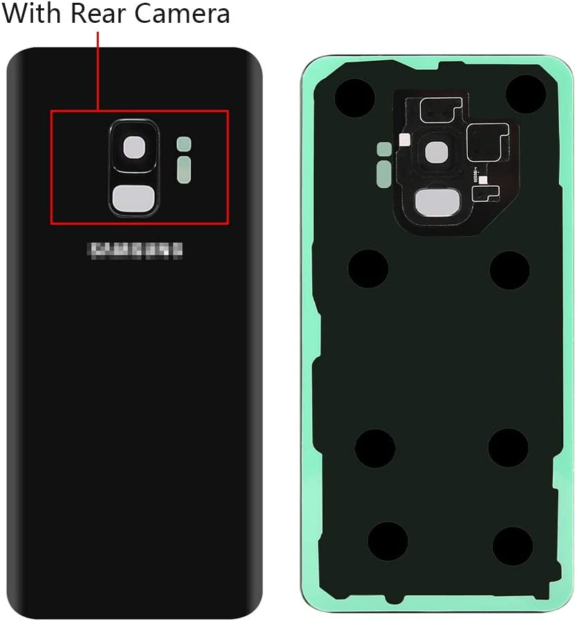 CrazyFire Black Rear Back Glass Cover Battery Door Replacement with Rear Camera for Samsung Galaxy S9 G960 with Pre-Installed Adhesive and Repair Tool Kits
