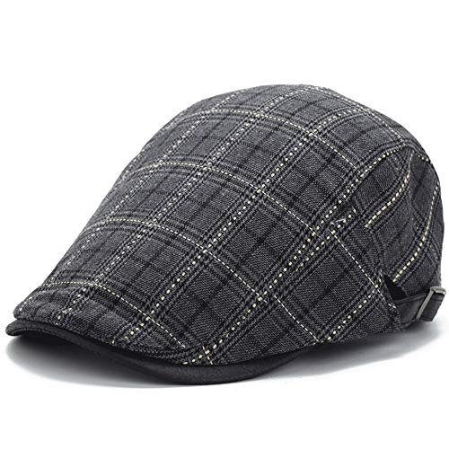 - LDDENDP Hat Men's High-grade Cotton Polyester Blend Classic Flat IVY Newsboy Collection Hat Street Hipster Cap Youth Cap Casual Outdoor Plaid Outing England Dome Beret Flat Cap Three-speed Adjustment