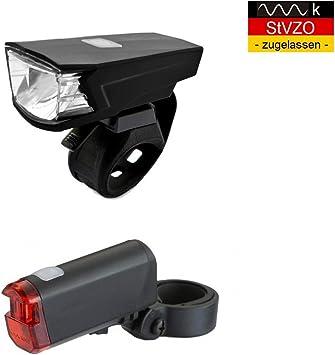 B-Germany - Juego de Luces LED para Bicicleta con batería USB, luz ...