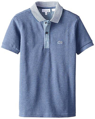 Lacoste Big Boys' Short Sleeve Cotton Pique Indigo Dyed Polo Shirt, Philippines Blue Jaspe/Philippines Blue/White, 10