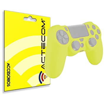 ACTECOM® Funda Carcasa Silicona Amarillo Fluorescente Mando Sony PS4 Playstation 4