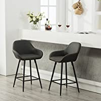 Roundhill Furniture PC281GY Horgen Contemporary Faux Leather Dining Chairs, Gray, Set of 2