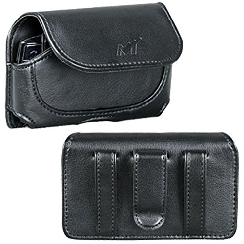 Premium Horizontal Leather Carrying Case Pouch for Blackberry 8300, 8310, 8330, 8350I, 8800, 8830, 9000, 9500, 9530 (Storm), 9630 (Tour) / HTC DASH, Dash 3G, S511 (SNAP), XV6175 (OZONE) / - I617 Snap