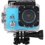 Acouto Sports Action Camera,4k 12MP front Flash Camcorder 140°Angle with Remote Controller,Waterproof Housing Case,Adapter Bracket,USB Cable,US Plug and more Accessories Kits (Blue)