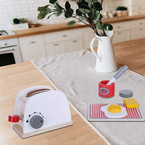 ✅Miniature Dollhouse Wooden Simulation Pop-Up Toaster Playset with Dial to Indicate The Size Setting Living Room Decor for Toddlers 7.1 x 4.3 x 3.5 inches (Best 2 Slice Toaster 2019)