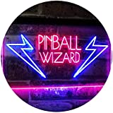 AdvpPro 2C Pinball Wizard Game Room Display Bar Beer Club Dual Color LED Neon Sign Blue & Red 12'' x 8.5'' st6s32-i2797-br