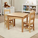 Melissa & Doug Solid Wood Table & Chairs (Kids Furniture, Sturdy Wooden Furniture, 3-Piece Set, 20