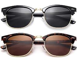 KANASTAL Óculos de Sol Polarizados Semi Aro Para Mulheres e Homens, Óculos de Sol Classic Retro ter Proteção UV400, Óculos Su