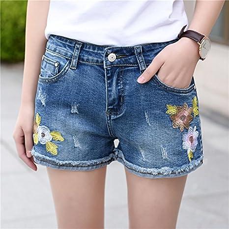 YYJZJW Shorts de Mujer Shorts de Mujer Falda Corta Viento Bordado ...