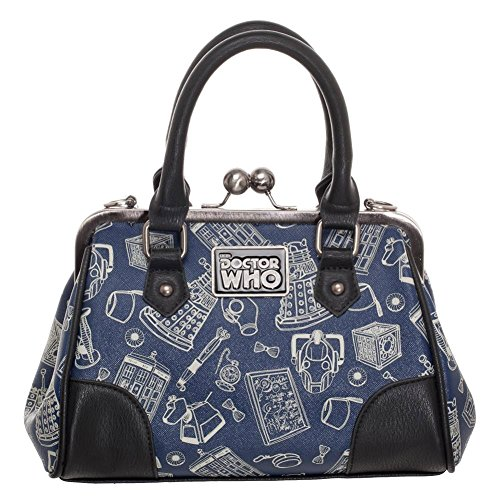 Doctor Who Scribble Art Kisslock Bag Handbag Purse Satchel