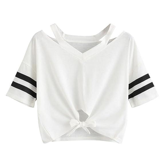 SHOBDW Camiseta Corta de Las Señoras del Verano de Las ...