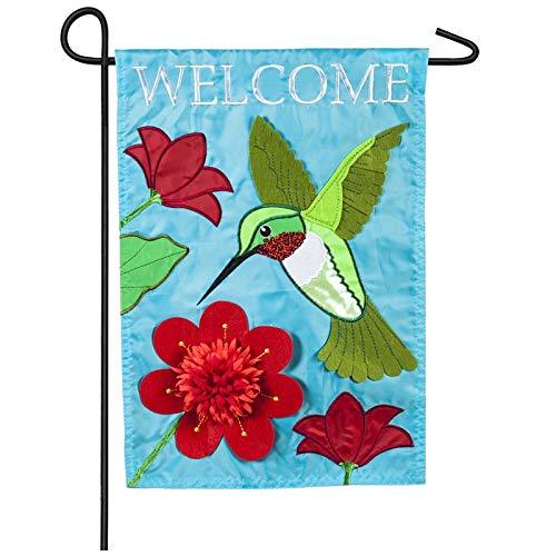 Evergreen Hummingbird Welcome Applique Garden Flag