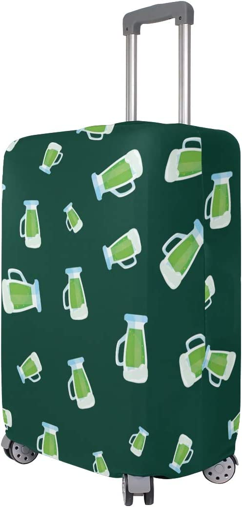 18//20//24//28//32 Inch Spandex Travel Luggage Cover L Patricks Day With Beer Fashion Creative Design Anti-Scratch Stretchy Travel Suitcase Protector Baggage Covers -Happy Green St
