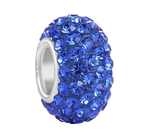 925 Sterling Silver September Birthstone Charm Bead Swarovski Crystal Elements fit All Charm Bracelets Women Girls Gifts EC684-9