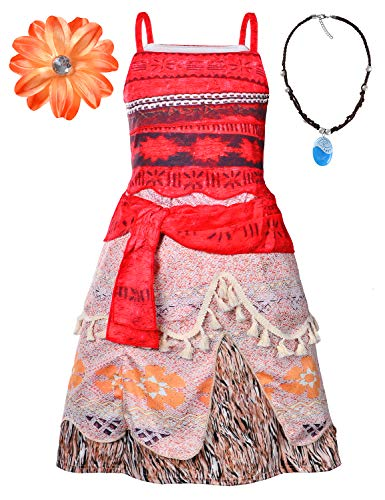 Little Girls Hawaii Traditional Polynesian Princess Costume with Necklace,Flower 6T 7 (130cm)