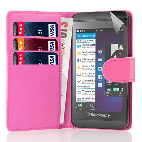 32nd Book Style Wallet PU Leather Flip Case Cover for BlackBerry Z10 - Hot Pink