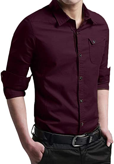 SoonerQuicker Camisa de Hombre Camiseta de Vestir de Manga Larga con Botones Delgados para, otoño, Informal y Blusa superiorT Shirt tee: Amazon.es: Ropa y accesorios