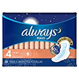 Always Maxi Pads Overnight with Flexi-Wings Unscented, 28 Count (Pack of 2)- Packaging May Vary