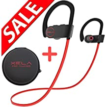 [ Sale ] - iPhone/Android - Bluetooth Headphones (Best Sport Wireless Stereo Headset with Microphone, Travel Case, Noise Reduction, True Beats, Neckband Style) by XELA (Red Wire)