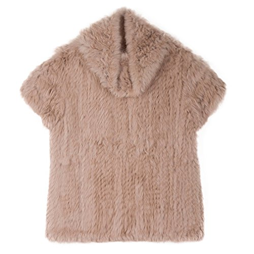 Fur Story Women's Knitted Real Rabbit Fur Vest Pullover Solid Female Fashion Warm Coat (Solid Genuine Leather Ladies Vest)