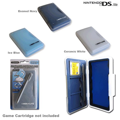 Nintendo DS Lite/GBA SP/GBA Multi Game Cartridge Case with Stylus Pen - Blue Nintendo Navy Ds