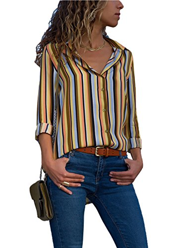 (Ecrocoo Womens Top Plus Size Fashion Loose Ladies Button Down Tunic Loose Silk Blouse V-Neck Tops Chiffon Color Block Stripes Henley Shirts Multicoloured XXL)