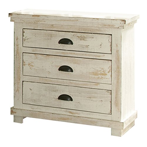 Monster Bedroom 4 Drawer Chest (Montrose Distressed White 3 Drawer Nightstand - Fully Assembled)