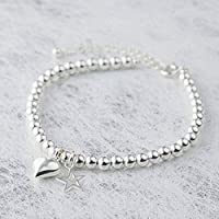 Silver Color Beads Bracelet (6 mm) For Women/Girls