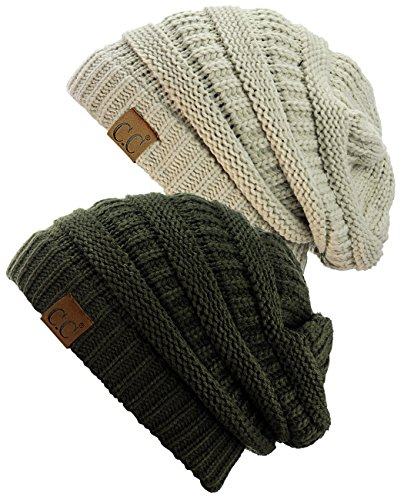 C.C Trendy Warm Chunky Soft Stretch Cable Knit Beanie Skully, 2 Pack Beige/Dark (Chunky Cable Knit Hat)