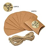 100PCS Wedding Favour Candy Boxes, Vintage Pillow Gift Box with 100PCS Jute String and 120PCS'Thank You' Paper Sticker for Wedding Party Birthday Decoration