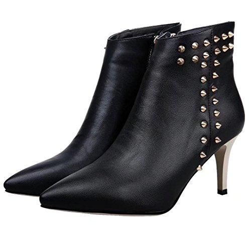 AIYOUMEI Damen Stiletto High Heels Stiefeletten mit Nieten Elegant Herbst Winter Stiefel Schuhe Schwarz