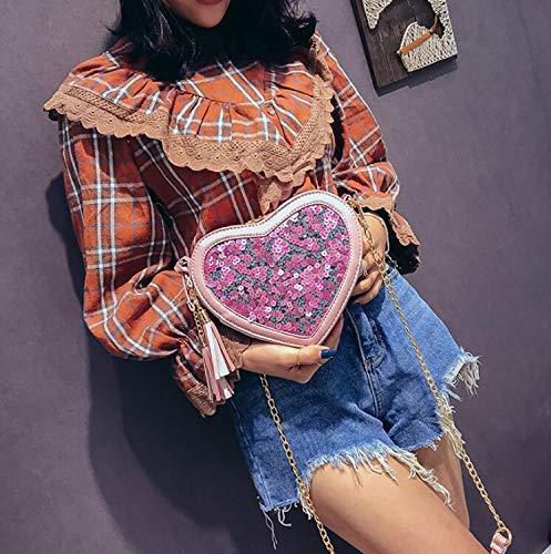 Sauvage en de Main portatives à Contraste à Couleur pour Sac Sac Femme Sac Paillettes bandoulière Pink bandoulière à 4q0wSw1P