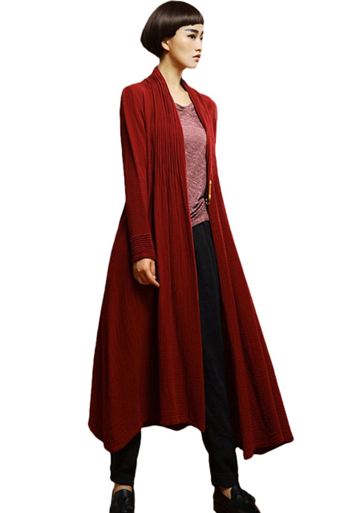 Mordenmiss Women's New Linen Drape Cloak Trenchcoat with Hood (M, Style 2-Red)