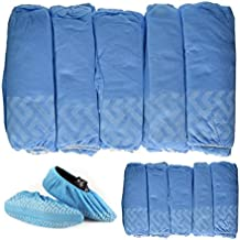 BESTeck 100 Pack/50 Pairs Anti-Skid Non-Slip Disposable Blue Polypropylene Shoe Covers One-Size Medical Booties Overshoe for Home Lab Clinic Hospital Carpet Cleaning Real Estate Safety Shoe Protectors