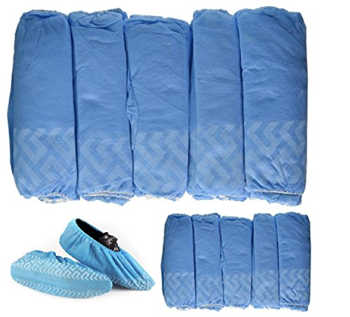BESTeck 100 Pack/50 Pairs Anti-Skid Non-Slip Disposable Blue Polypropylene Shoe Covers One-Size Medical Booties Overshoe for Home Lab Clinic Hospital Carpet Cleaning Real Estate Safety Shoe Protectors (Covers Skid Shoe)
