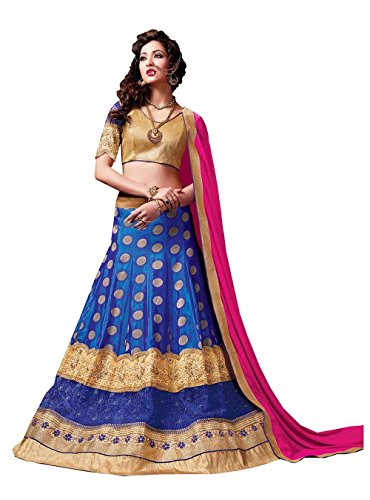 Da Facioun Womens Blue Striking Lehenga Choli With Embroidery Crystals Stones Work 84038
