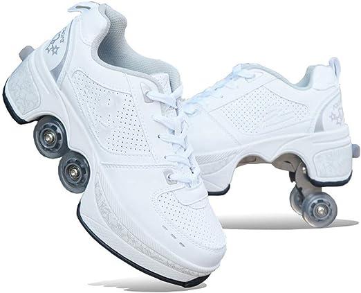 Z-ZH Zapatos con Ruedas Zapatillas de Skate para Mujeres, Hombres ...