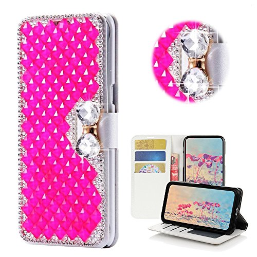(STENES Samsung Galaxy Note 8 Case - Stylish - 3D Handmade Bling Crystal Square Lattice Bowknot Wallet Credit Card Slots Fold Media Stand Leather Cover Case - Hot Pink)