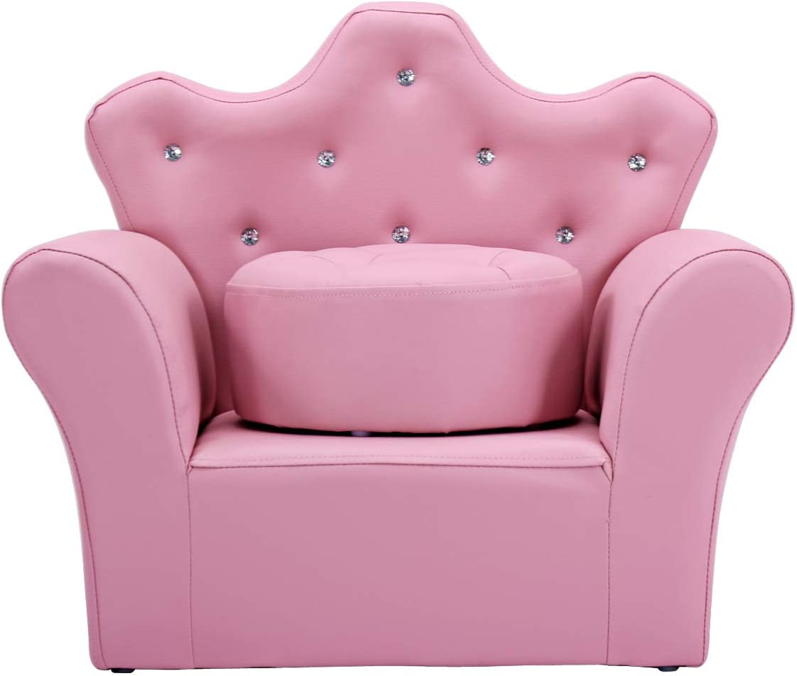 Pink Casart Kids Sofa Children Upholstered Chaise Lounge Chair with Armrest and Ottoman