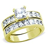 Classic New Gold Tone Stainless Steel Princess Cut Solitaire CZ Wedding Ring Set (7)